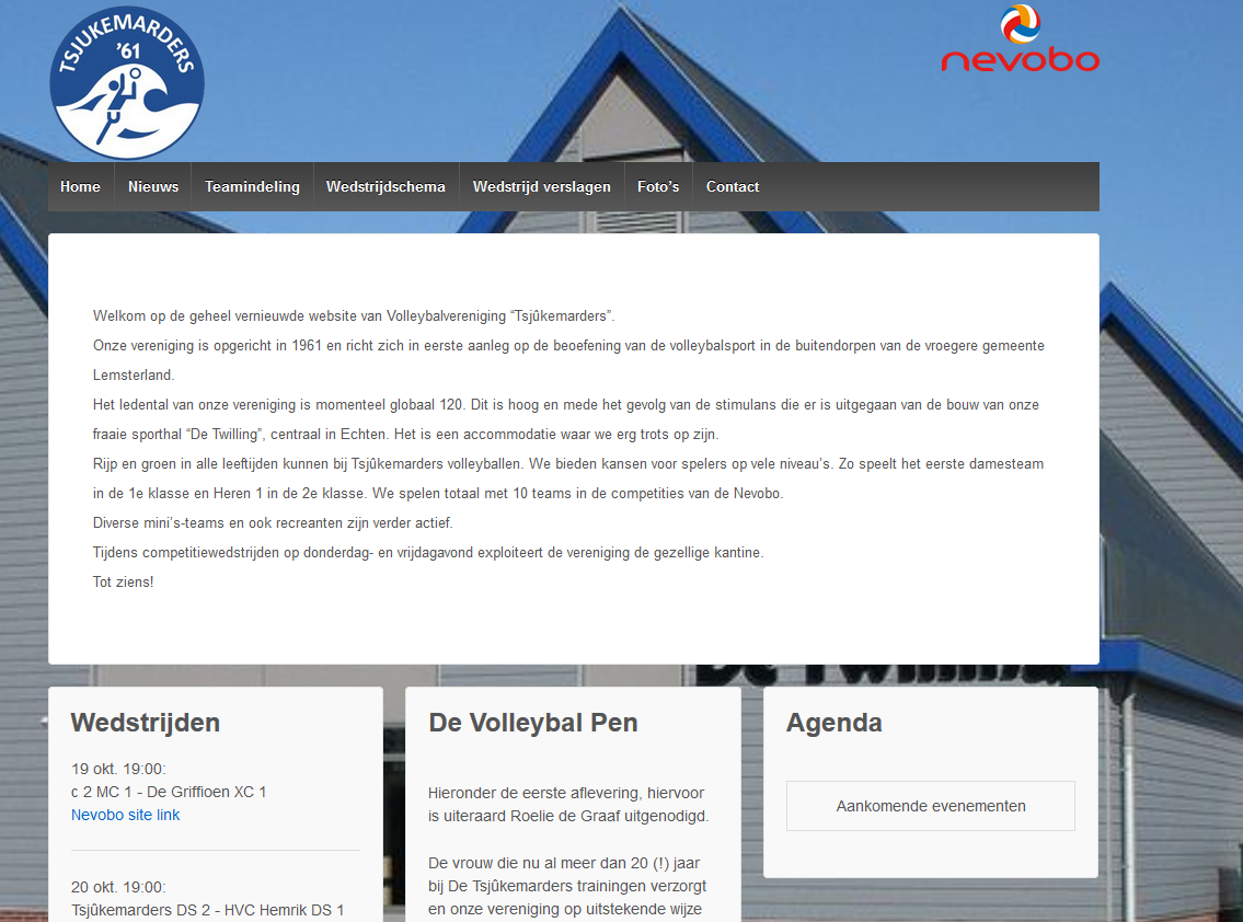 Website van volleybal vereniging Tsjukemarders